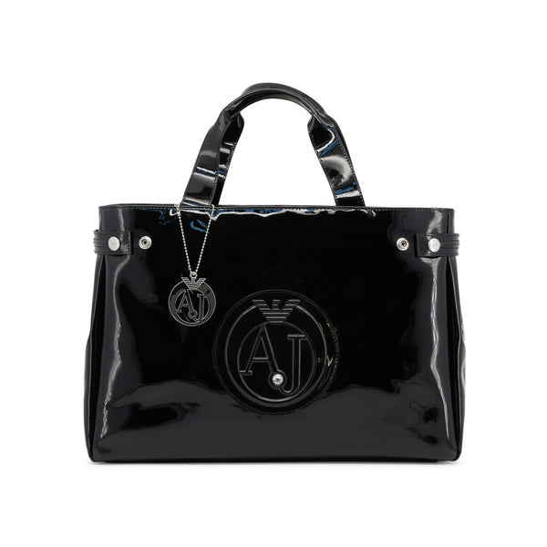 Armani Jeans Signature Black Tote with logo - Womens Handbag