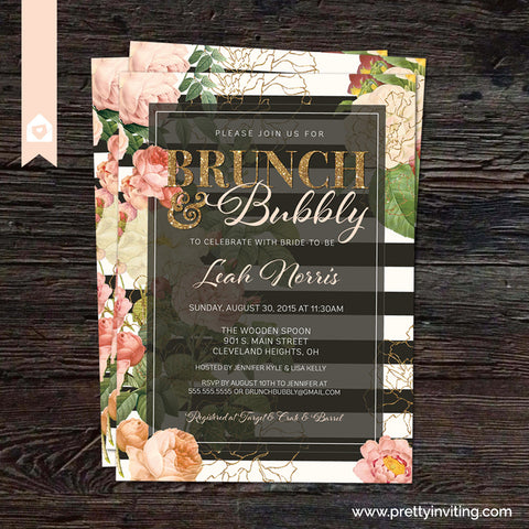 Bunch and Bubbly Bridal Shower Invitation - Vintage Floral, Black & White Stripe and Gold Glitter - Wedding Shower or Birthday - Printable