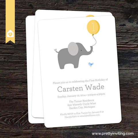 Little Elephant with Yellow Balloon - Birthday Invitation - Printable