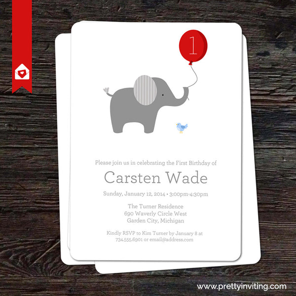 Little Elephant with Red Balloon - Birthday Invitation - Printable
