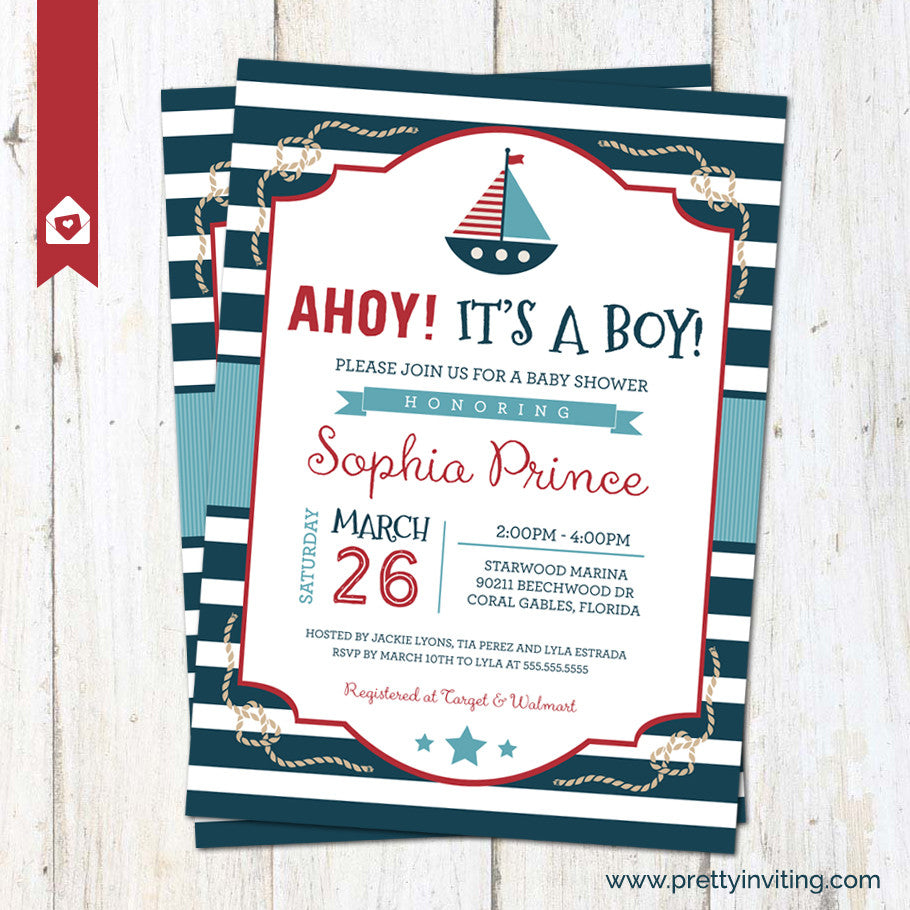 Ahoy! It\'s a Boy Nautical Sailor Baby Shower Invitation – Pretty ...
