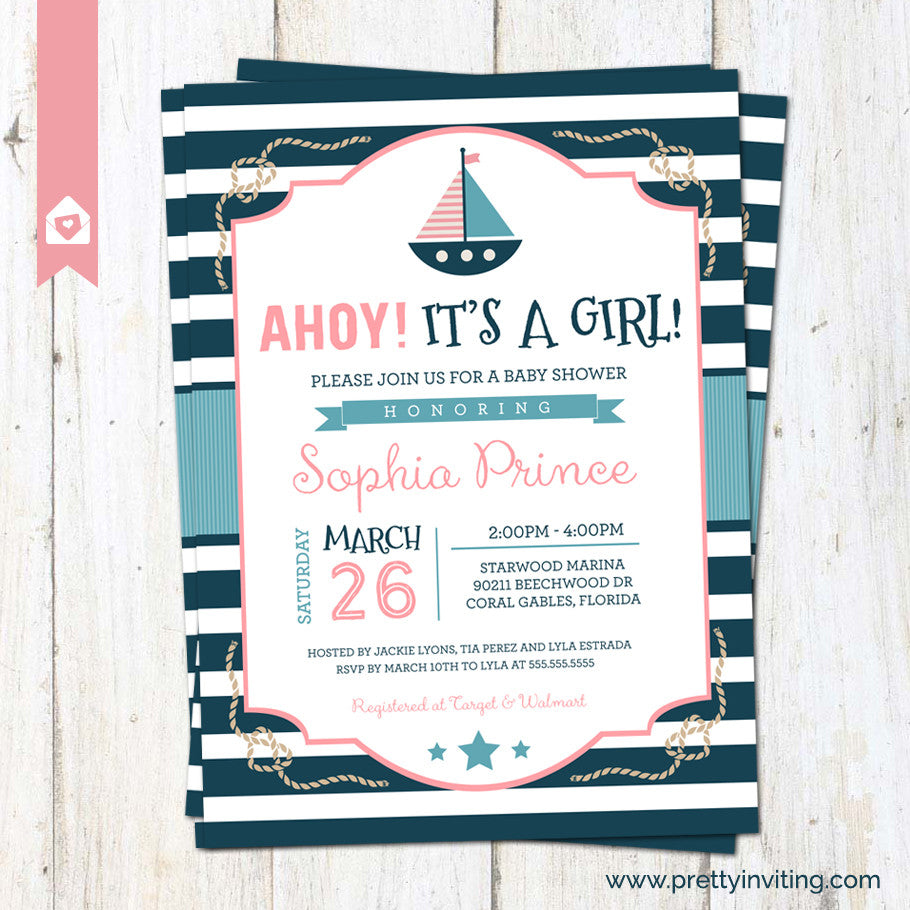 photograph relating to Nautical Baby Shower Invitations Printable named Ahoy! Its a Female - Nautical Kid Shower Invitation, Sailor Invite, Clean Kid Female - red blue - Printable