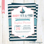 Ahoy! It's a Girl - Nautical Baby Shower Invitation, Sailor Invite, New Baby Girl - pink blue - Printable