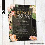 Bunch and Bubbly Bridal Shower Invitation - Vintage Floral, Black and Gold Glitter - Wedding Shower - Printable