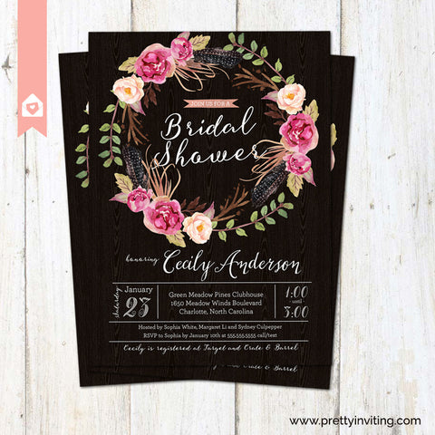 Bridal Shower Invitation - Elegant Rustic Watercolor Wreath on Chalkboard - Wedding Shower - Printable