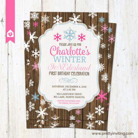 Winter ONEderland First Birthday Invitation - Rustic 1st Birthday Invite - Snowflake birthday party - Printable