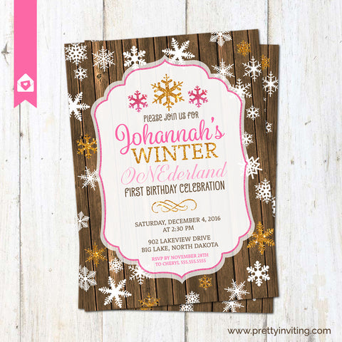 Winter ONEderland First Birthday Invitation - Rustic 1st Birthday Invite - Snowflake birthday party - Gold Glitter and Pink Printable
