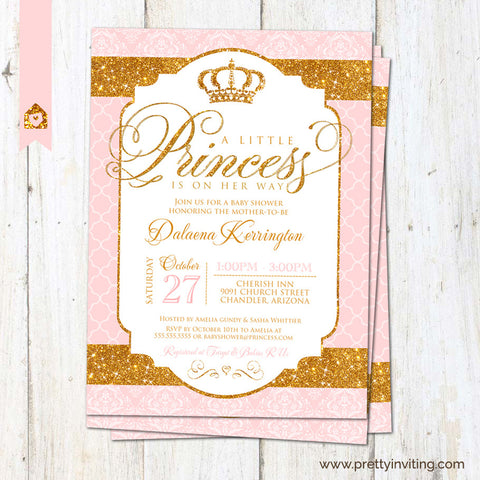 Royal Princess Baby Shower Invitation - Gold Glitter Pink, For Baby Girl - Printable