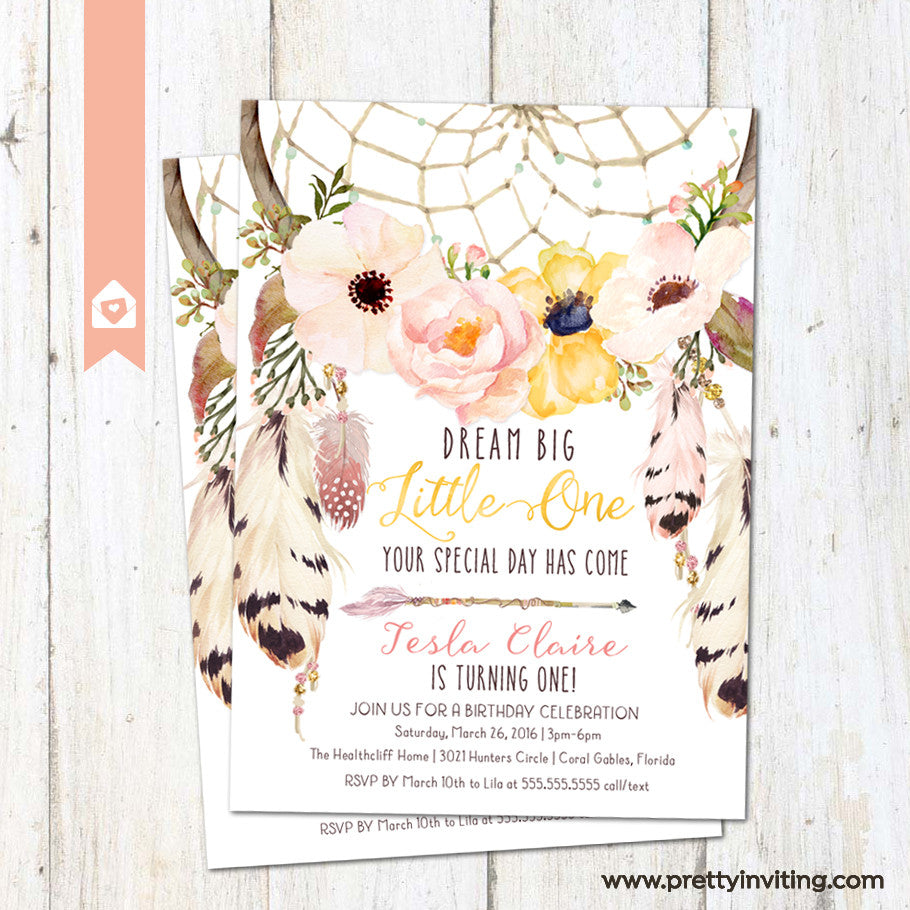 Boho Dream Catcher First Birthday Invitation Floral Dreamcatcher Birthday Invite Pink Yellow