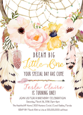 Boho Dream Catcher First Birthday Invitation, Floral Dreamcatcher Birthday Invite - Pink & yellow