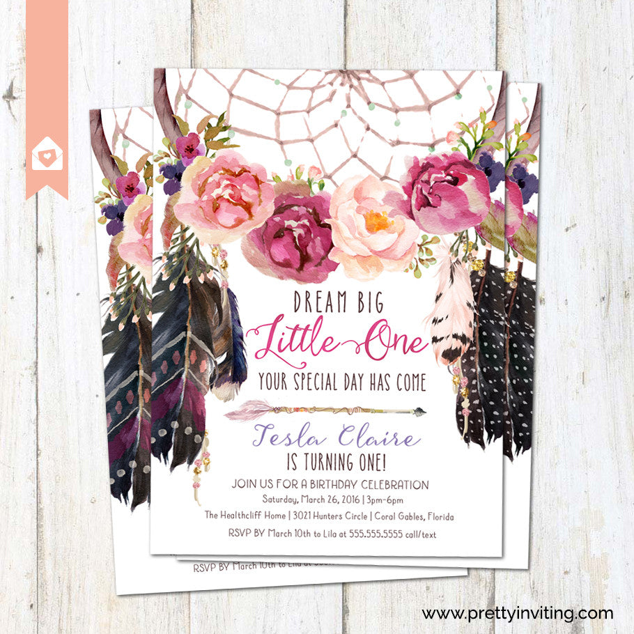 Boho Dream Catcher First Birthday Invitation Floral Dreamcatcher Invite