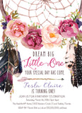 Boho Dream Catcher First Birthday Invitation, Floral Dreamcatcher Birthday Invite - Indigo & Purple