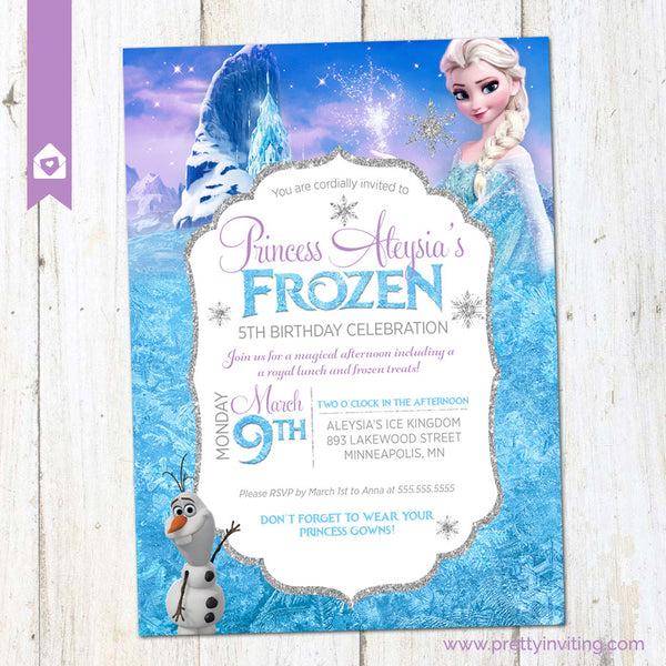 Frozen Birthday Party Invitation - Princess Elsa Birthday Invite - Winter Birthday Party - Girl Birthday Celebration - PRINTABLE