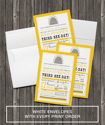 5x7 Invitation Printing - Includes White Envelopes