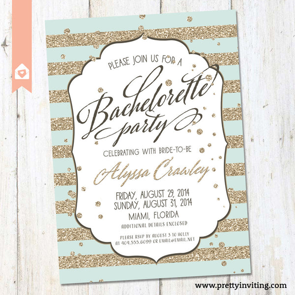 Bachelorette Party Invitation - Gold Glitter