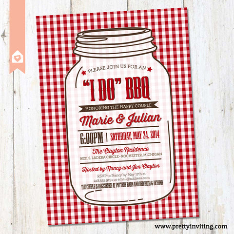 """I Do"" BBQ Bridal Shower Invitation, Couples Shower Barbecue Invite, Barbeque, Wedding Shower - Mason Jar, Red Gingham Plaid - Printable"