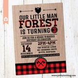 Lumber Jack Rustic Birthday Invitation - Red Plaid Lumberjack Birthday Invite - Boy Birthday - Printable