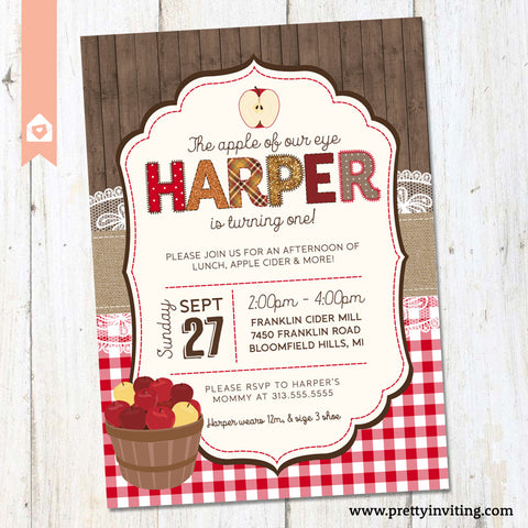 Apple of Our Eye Country Rustic Kids Birthday Invitation - Autumn Fall Winter Birthday Party - Boy or Girl Birthday Celebration - PRINTABLE