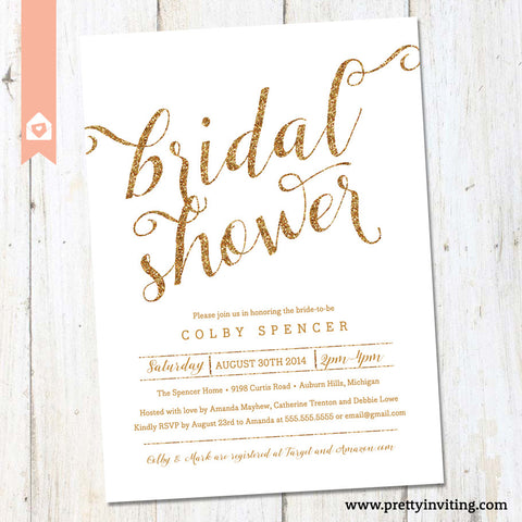 Gold Glitter & White Bridal Shower Invitation - Printable