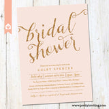 Gold Glitter & Blush Pink Bridal Shower Invitation - Printable