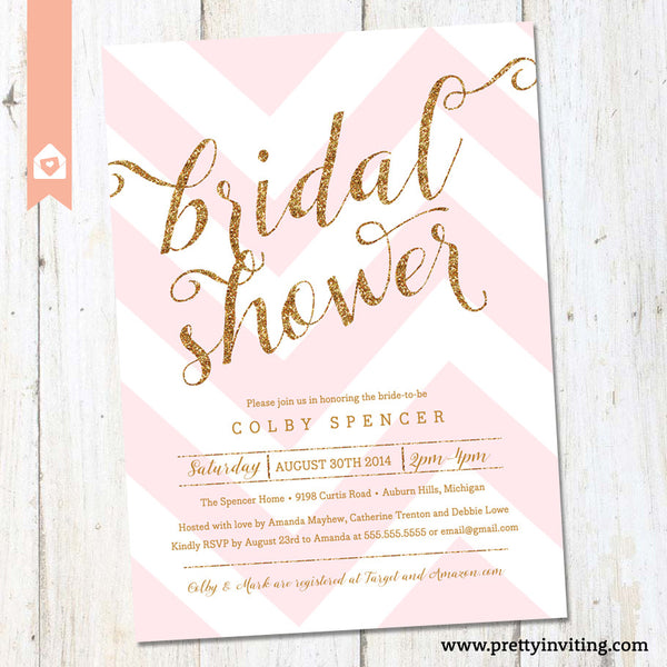 Gold Glitter & Pink Chevron Bridal Shower Invitation - Printable