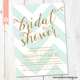Gold Glitter & Mint Chevron Bridal Shower Invitation - Printable