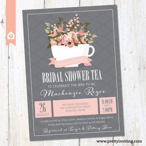 Bridal Shower Tea Party Invitation - Floral Teacup