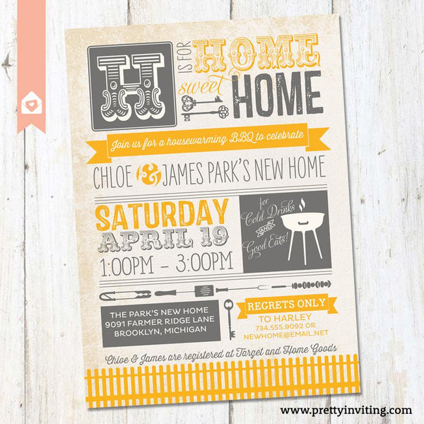 Houswarming Invitation - New Home BBQ - Vintage Poster Style - Yellow & Grey