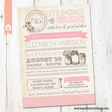 Vintage Masor Jar Bridal Shower Invitation - Poster Style - Pink