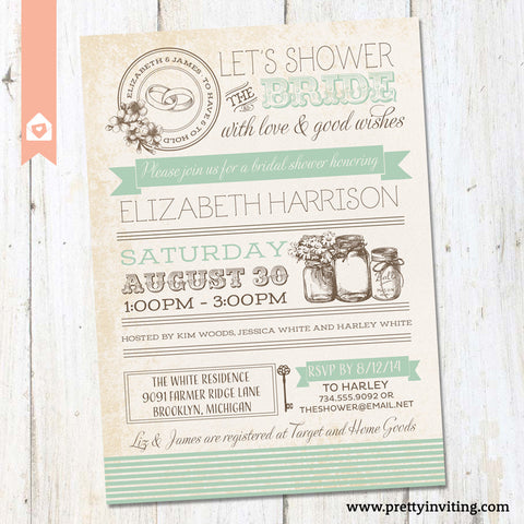 Vintage Masor Jar Bridal Shower Invitation - Poster Style - Mint