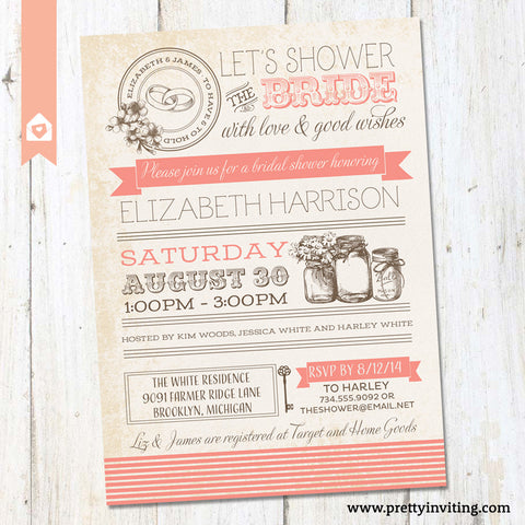 Vintage Masor Jar Bridal Shower Invitation - Poster Style - Coral