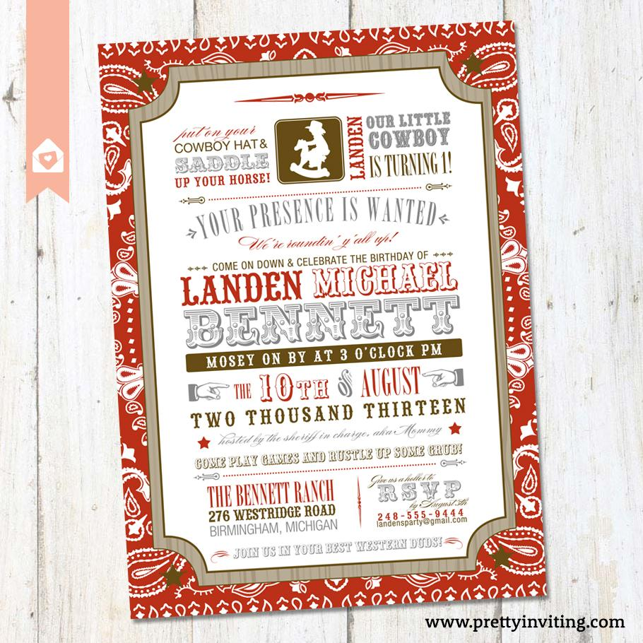 Little Cowboy Birthday Invitation - Vintage Poster Style - Western ...
