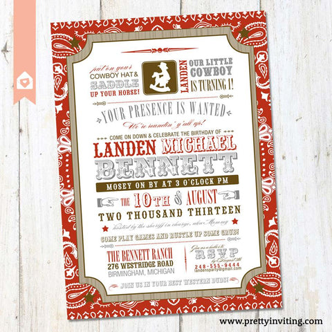 Little Cowboy Birthday Invitation - Vintage Poster Style - Western Boys Birthday Invite