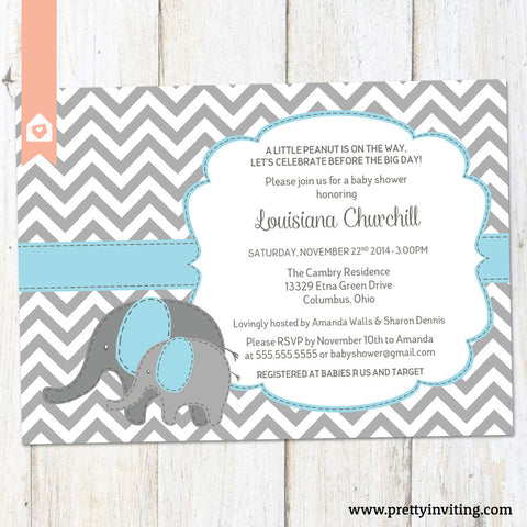 Baby Elephant Baby Shower Invitation - Chevron and Blue - Baby Boy, Twins, Gender Neutral - Printable