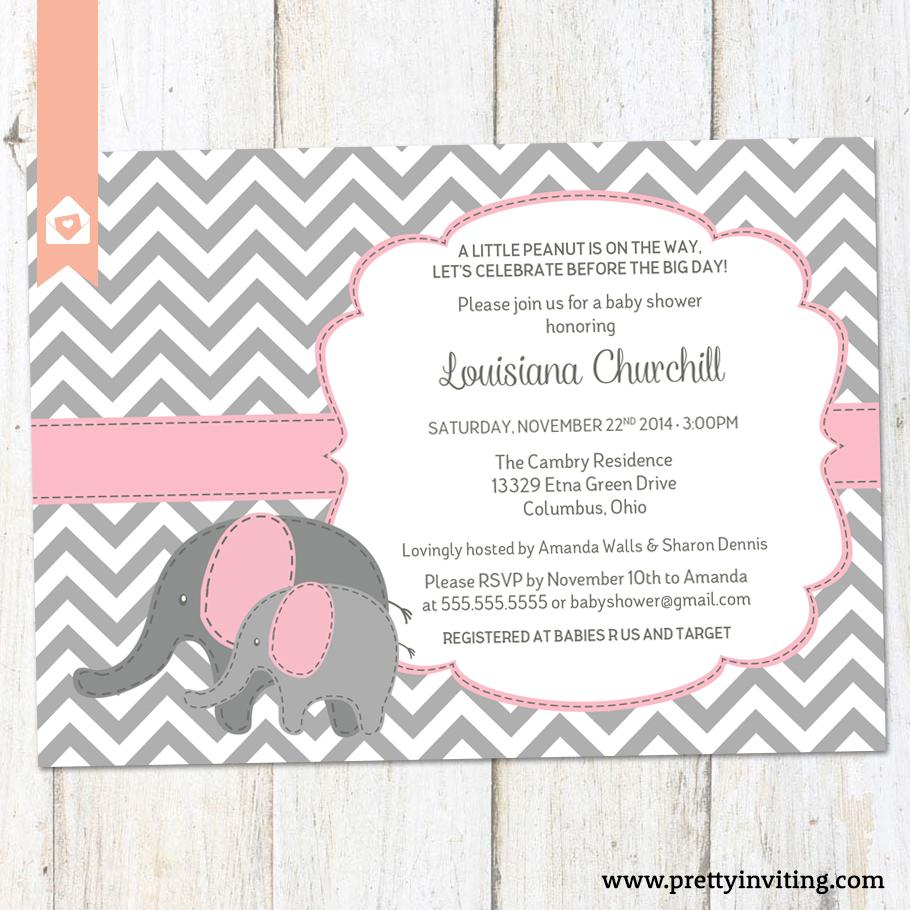 Baby Elephant Baby Shower Invitation Chevron And Pink Baby Girl Or Twins Shower Invite Printable
