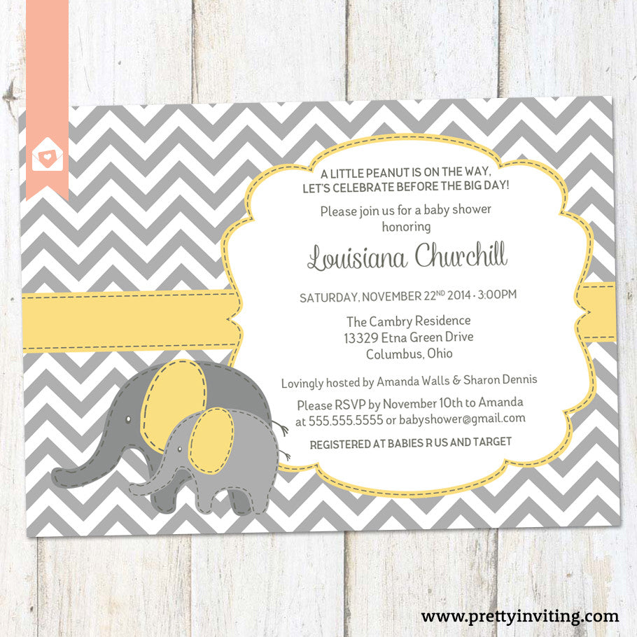 Baby Elephant Baby Shower Invitation - Chevron and Yellow – Pretty ...