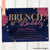 Bunch and Bubbly Bridal Shower or Birthday Invitation - Hot Pink, Navy Blue - Gold Glitter - Printable