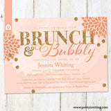 Bunch and Bubbly Bridal Shower or Birthday Invitation - Peach Pink Coral - Gold Glitter - Printable