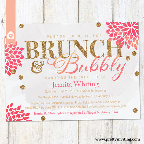 Bunch and Bubbly Bridal Shower or Birthday Invitation - White & Pink - Gold Glitter - Printable