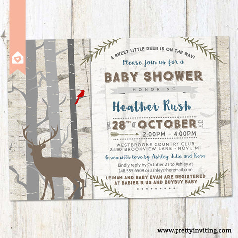 Rustic Winter Baby Shower Invitation, Winter Woods Deer Invite, Country Boy Invitation - Printable