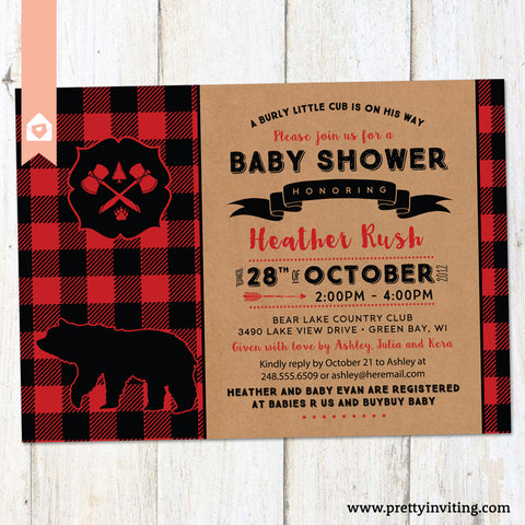 Rustic Lumber Jack bear Baby Shower Invitation, Red Plaid Lumberjack, Country Boy Invitation - Printable