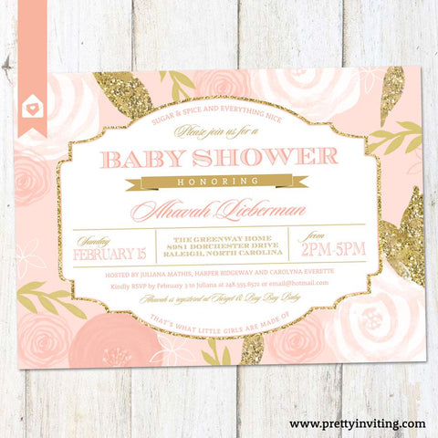 Pink Rosebud Baby Shower Invitation - Blush Floral & Gold Faux Glitter, Vintage Label Layout