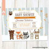 Woodland Baby Shower Invitation, Rustic Winter Shower Invite - Forest Animals Shower Invitation, Blue - Printable