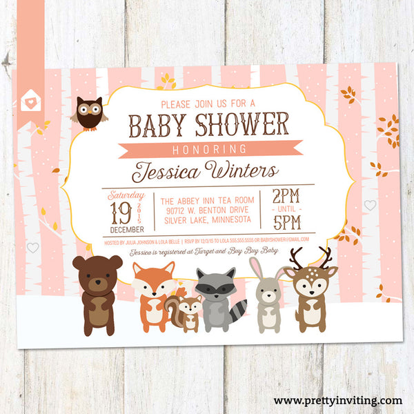 Woodland Baby Shower Invitation, Rustic Winter Shower Invite - Forest Animals Shower Invitation - Pink - Printable