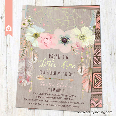 Boho Chic Dream Catcher First Birthday Invitation