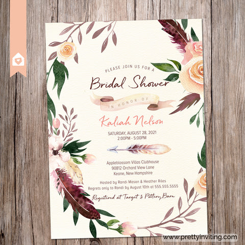 Boho Bridal Shower Invitation - Peach and Burgundy Feathers