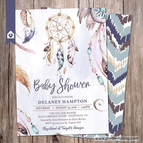 Misty Blue Dreamcatcher Baby Shower Invitation  - Boho Dream Catcher Invitation