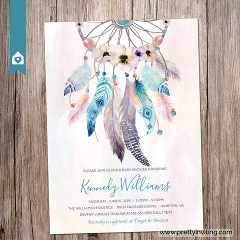 Sherbet Dream Catcher Baby Shower - Boho Chic Invitation