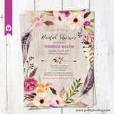 Boho Floral Wreath Bridal Shower Invitation