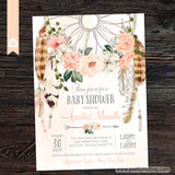 Blushing Rose Dreamcatcher Baby Shower Invitation